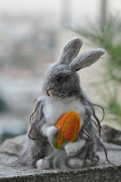 Needle felted Angora Rabbit 3/ Basket bunny by daria.lvovsky,
