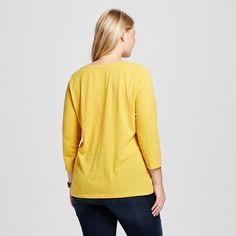 Women's Plus Size 3/4 Sleeve T-Shirt - Ava & Viv Pharaoh Gold 1X