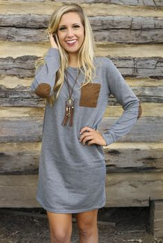 The Lighthouse Gray Knit Dress With Suede Contrast Pocket & Elbow Patches