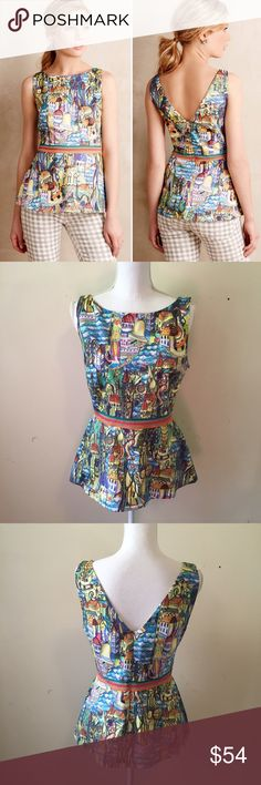 Anthro Weston Cityscapes Peplum Top Fun and funky peplum top from Anthropologie featuring a colorful, artsy cityscape print, multicolored banded waist, and V back. Concealed back zip.   Size medium. Great condition. Anthropologie Tops Blouses