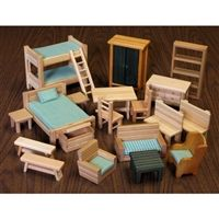 The Log Cabin Furniture is sturdy, slatted pine pieces that are perfect in any… Log Cabin Furniture, Outdoor Furniture Sets, Outdoor Decor, Dinosaur Toddler Bedding, Bench With Back, Fairy Houses, Doll Houses, Luxury Bedding, Modern Bedding