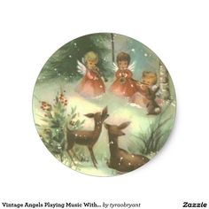 Snowy woods, three little angels, a bunny, and two Christmas deer-io vintage greeting card. I used to try to buy cards like this with three little angels on it - reminds me of my kids. Images Vintage, Vintage Christmas Images, Christmas Scenes, Christmas Deer, Retro Christmas, Vintage Holiday, Christmas Pictures, Christmas Angels, Christmas Greetings