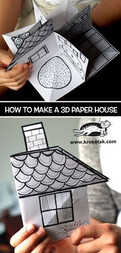 paper house huis van papier children activities, more than 2000 coloring pages Projects For Kids, Diy For Kids, Crafts For Kids, Summer Crafts, House Projects, Art Projects, Paper Toys, Paper Crafts, Foam Crafts