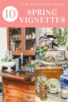 With Easter right around the corner, here are some quick ideas for Easter Vignettes! Here are tips and ideas for creating simple vignettes. Easter Projects, Diy Projects, Spring Treats, Easter Colors, Southern Homes, Seasonal Decor, Vignettes, Mason Jars, Decor Ideas