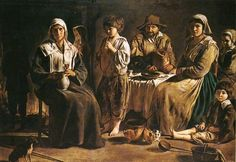 """Louis or Antoine Le Nain:  Peasant Meal, 1642, oil on canvas, 3'9"""" x 5'3"""" - The Louvre."""