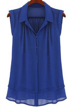 SheIn offers Blue Lapel Double Layer Chiffon Blouse & more to fit your fashionable needs. Pleated Shirt, Sheer Shirt, Chiffon Shirt, Sleeveless Blouse, Sheer Chiffon, Sheer Blouse, Button Collar Shirt, Collar Blouse, Collar Top