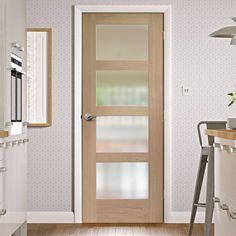 Bespoke Shaker 4 Pane Oak Door with Obscure Fire Glass - 1/2 Hour Fire Rated. #door #glazeddoor #iunteriordoor #glazedmoderndoor #bespokedoor #moderninteriordoor #newdoor #dooridea #interiordesitgn #door #doors#bespokefiredoor