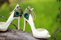 Ivory Satin Peep Toe Peacock Pumps  Size 9 by LaPlumeEthere, $110.00