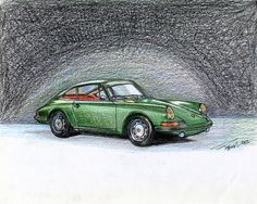 1963 Porsche 911 in Color Pencil   ORIGINAL  by TimelessForever, $25.00