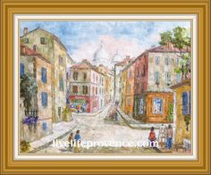 Decorate and Enjoy your Home with Provencal Fine artwork with Original Village	(Montmartre PARIS) by renowned French Artist Philippe GIRAUDO. 	www.livelifeprovence.com #llprovence Fine Artwork, Painting, Artwork, French Artists, Original Artwork