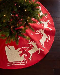 santa sleigh christmas tree skirt red neiman marcus white christmas trees - Cheap Christmas Tree Skirts