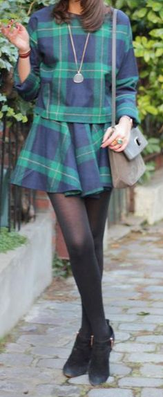 green plaid top and skirt set  http://rstyle.me/n/t985apdpe