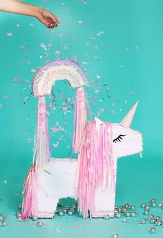 This item is unavailable Rainbow Pinata, Rainbow Unicorn Party, Unicorn Birthday Parties, Birthday Cake, Craft Party, Diy Party, Sparkle Crafts, Unicorn Pinata, Mini Balloons