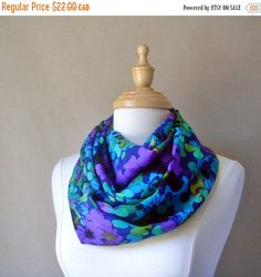 Sale Large Infinity ScarfBlue Purple Green and by fayeslipp