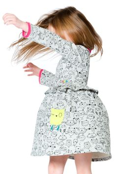 Contrast color accents add an element of surprise to the adorable Owl You Need Is Love Printed Dress. This cotton French terry dress with shimmering lurex features an allover owl print in a flared silhouette with a ruffle frill at the chest, long sleeves, Girls Winter Fashion, Little Girl Fashion, Kids Fashion, Kid Styles, Winter Collection, Cool Kids, Boy Outfits, Color Accents, Dresses For Work