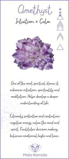 What is the meaning and crystal and chakra healing properties of amethyst? A stone for intuition and calm.