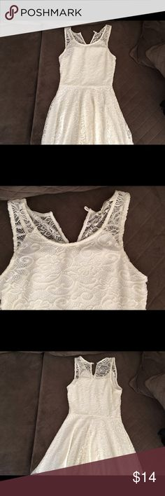 White Lace Hi-Lo Dress (Belt not included) Gently worn, so beautiful and flattering. Tight fit top, flowy from the midsection down. Dresses High Low