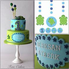 Little turtle - by femcakes @ CakesDecor.com - cake decorating website