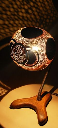 Amount of work is so inspirational! Gourdlight - Handcrafted gourd lamps this one is beautiful as the previous ones!