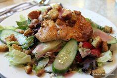 Chicken Strawberry Salad  Fresh Garden Greens, Grilled Chicken Breast, Cucumbers, fresh Strawberries, and Gorgonzola tossed in a White Zinfandel Vinaigrette Dressing  $15.49