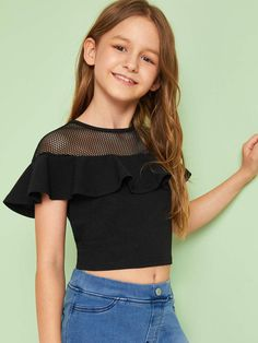 To find out about the Girls Mesh Yoke Ruffle Trim Crop Top at SHEIN, part of our latest Girls Blouses ready to shop online today! Preteen Girls Fashion, Girls Fashion Clothes, Teen Fashion Outfits, Cute Fashion, Kids Fashion, Tween Girls Clothing, Style Clothes, Fashion Black, Fashion Fashion