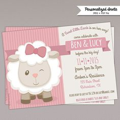 Cute Little Lamb Baby Shower Invitations Cute Pink sheep baby shower Invitation Examples, Printable Invitations, Invitation Cards, Invites, Shower Bebe, Girl Shower, Baby Shower Printables, Party Printables, Pink Sheep