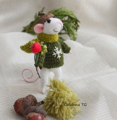 Needle felted Mouse White mouse boy Mouse boy by WorkshopTatyanas