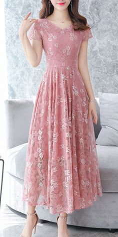 Chiffon floral printed lace maxi dress, with pink or other colors, you will love it, shop now! Source by mcsohni maxi dress Modest Dresses, Simple Dresses, Day Dresses, Cute Dresses, Casual Dresses, Short Dresses, Fashion Dresses, Summer Dresses, Occasion Dresses