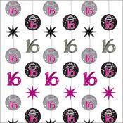 Sweet 16 Sparkle String Decoration 6ct