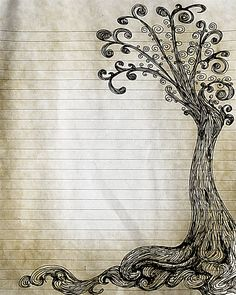 Printable Pen and Ink Tree Drawing Lined Journal Page by InkedInk, $2.50