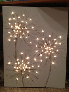 Here is another DIY project that I am really excited about.  Make your own painting that is simple in design but the string of lights gives the painting it's character.  I will put a little color in my dandelion or maybe some paint with glitter.  This will look great in any room in your home.  …