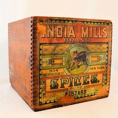 Vintage Antique Wooden Advertising Box India Mills Brand Spices Pure Mustard Original Paper Label Vintage from on