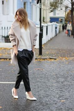 Coat, sweater, slouchy pants, pointy toe wedges.  Awesome together.