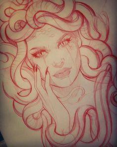 Medusa sketch - - diy tattoo images - Tattoo World Diy Tattoo, Form Tattoo, Shape Tattoo, Medusa Tattoo Design, Tattoo Designs, Tattoo Sketches, Tattoo Drawings, Body Art Tattoos, Sleeve Tattoos