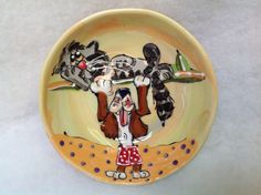 Hand Painted Ceramic Bowl / Cereal Bowl / Dog Pottery / Kitchen dishes / Custom / Whimsical Dog / Debby Carman Faux Paw Productions by FauxPawProductions on Etsy