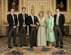 Prince Harry, Prince William, Charles, Prince of Wales, Camilla, Duchess of Cornwall and her children, Laura Lopes and Tom Parker Bowles.