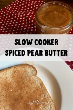 With the warm flavors of fall spices, this Slow Cooker Spiced Pear Butter is a perfect treat for homemade biscuits or a simple piece of toast. Lighted up with sugar alternatives, and essential oils to bring about more flavor. I use wild pears from a tree in my papa's back yard, but grocery store pears would work as well. #applebutter #fallfruitrecipes #pearrecipes #whattodwithpears #fruitspread Pear Recipes, Ww Recipes, Fall Recipes, Pear Butter, Apple Butter, Apple Pie Spice, Pumpkin Spice, Spiced Pear, Sugar Alternatives