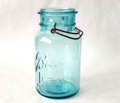 """Vintage Glass Canning Jar, Ball, """"Ideal,"""" 7"""", Blue, Collectible by RustbeltTreasures on Etsy"""