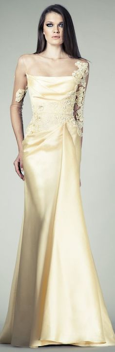 Champagne color gown by: Tony Ward Couture SS 2014 <3
