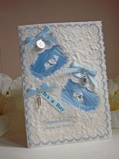 Baby Boy Congratulations Card  with  Iris by warmtouchcreations,