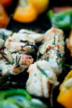 garlic lime coconut chicken kebobs on rosemary skewers