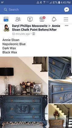 Annie Sloan Chalk Paint And Wax, Napoleonic Blue, Chalk Painting, Dark Wax, Chalk Paint, Chalk Drawings