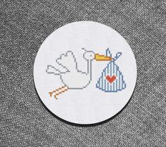 Cross Stitch Pattern Stork bringing a Baby Instant Download