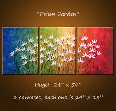 Original Large Abstract Painting Modern Contemporary Flowers .. yellow green red blue black ...24 x 54 .. Prism Garden. $350.00, via Etsy.
