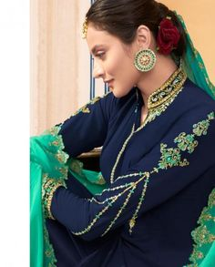 Navy Blue Heavy Embroidered Palazzo Suit