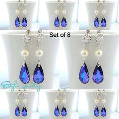 Set of 8 Bridesmaid Gifts Purple Swarovski Cubic by EstyloGlamour, $266.40