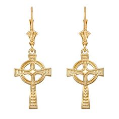 8ac5a3c58 Shop a great selection of Celtic Earrings Celtic Cross Leverback Dangle  Earrings Yellow Gold. Find new offer and Similar products for Celtic  Earrings Celtic ...