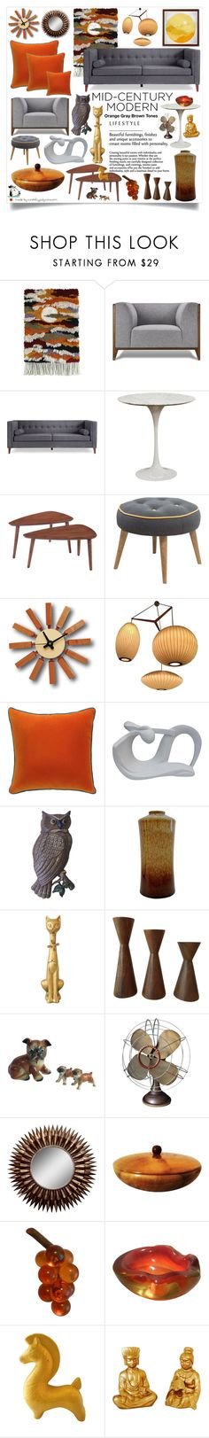 """""""Mid-Century Modern: Orange Gray Brown Tones!"""" by curekitty ❤ liked on Polyvore featuring interior, interiors, interior design, home, home decor, interior decorating, Baxton Studio, Andrew Martin, Westinghouse and Myrtlewood"""
