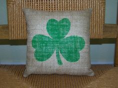 Burlap Shamrock pillow St. Patrick's day by KelleysCollections