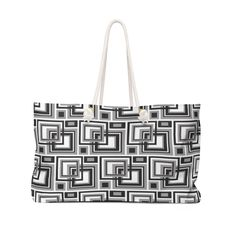 WOMENS WEEKENDER BAG Geometric Black Gray Overnight Bag - Large Tote Sports Bag - Carry On Purse